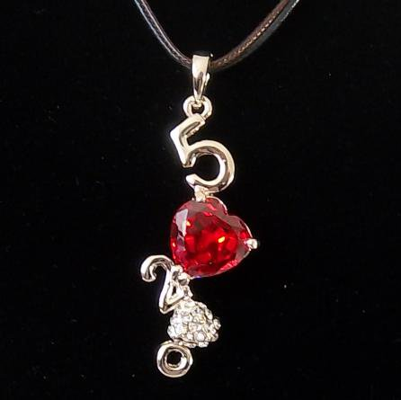 I Love U Rhinestone Red Cubic Zirconia Heart Pendant Necklace Valentine's Gift