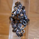Antique Silver Plated Floral looking Black Crystal Adjustable Ring