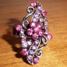Antique Silver Plated Floral looking Pink Crystal Adjustable Ring
