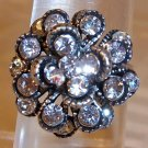 Silver Plated With Clear Rhinestone Flower Looking Adjustable Ring