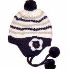 Knit Flower Corsage Crochet Beanie With PomPom Ski Hat Purple White