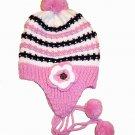Flower Corsage Crochet Beanie With PomPom Acrylic Ski Hat Pink & Purple