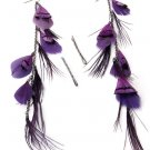 Feather / Plume Metal Hook Earrings Charms or Hair Pins  Purple