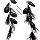 Feather / Plume Metal Hook Earrings Charms or Hair Pins Black & Green