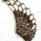 Crystal Pave Eagle Wing Design Antique Gold Plated Stretch Ring