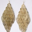 Fashion Leaves Design Long Gold Plated Chandelier Vintage Look Dangle Earrings