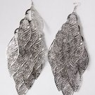 Fashion Leaves Design Long Silver Plated Chandelier Vintage Look Dangle Earrings