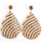 Rhinestone Pave wave Design Tear Dorp Gold Plated crystal Vintage Earrings