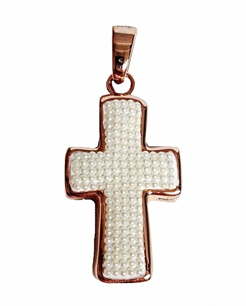 QC49 Mother of Pearl Cross Pendant Energy Necklace