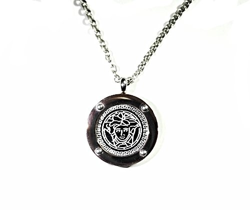 QP32G Stainless Steel Magnetic Medusa Greek Key Necklace