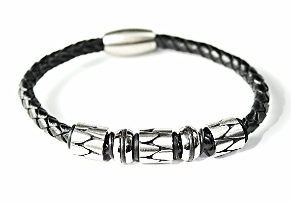 QBL21 Hioki Black Braided Leather & Stainless Steel Magnetic Bracelet