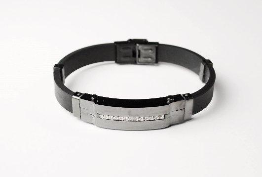 QB6 Itoman Black Silicone & Black SS Magnetic Quantum Energy Bracelet
