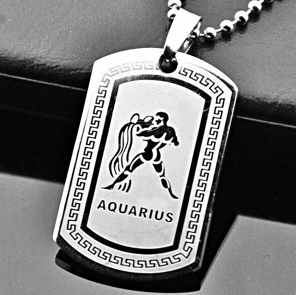 QP34 Aquarius Zodiac Quantum Pendant Dog Tag Stainless Steel