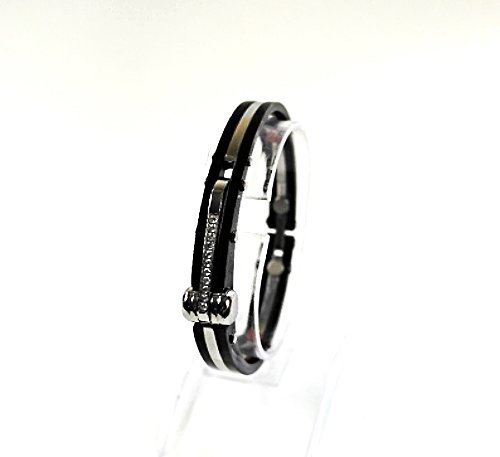 QB45 Tejo 50 Shades of Grey Inspired Handcuff Crystals Men Energy Bracelet Black