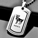 QP34 Aries Zodiac Quantum Pendant Dog Tag Stainless Steel