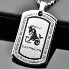 QP34 Magnetic Pendant Dog Tag Stainless Steel Capricorn Zodiac Sign