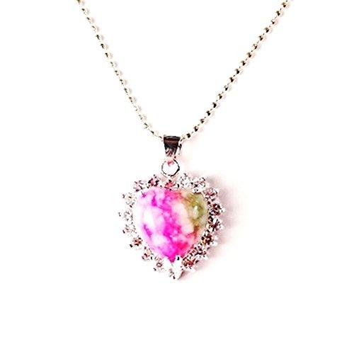 QP54 Heart Rhodochrosite Inca Rose Stone Quantum Energy Pendant w/ Crystals