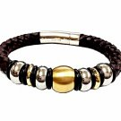 QBL11 Buzen-Deluxe Braided Brown Leather & 2-Tone Stainless Steel Beads Magnetic