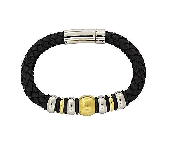 QBL13 Buzen-Deluxe Braided Black Leather & 2-Tone Stainless Steel Beads Magnetic