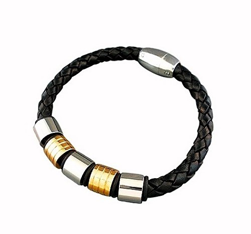 QBL16 Midori Black Braided Leather & 2-Tone Stainless Steel Magnetic Bracelet