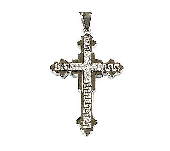 QC53 Cross Energy Pendant with Silver Sparkle