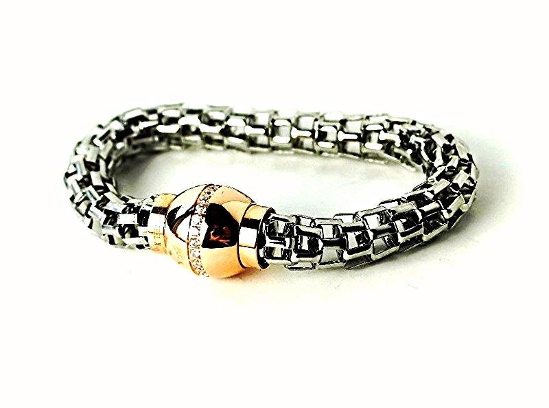 WQB6 Dalimara Women's Snake Mesh Stainless Steel w/ Crystals Magnetic Bracelet