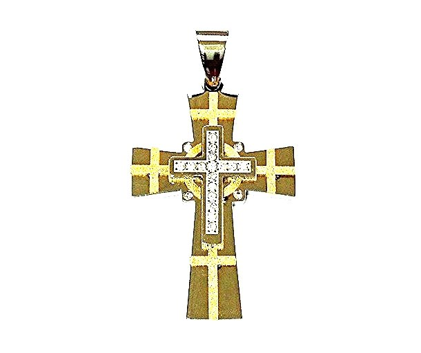 QC14 Quantum Cross Stainless Steel 3-Layer Pendant 3-Energy with Crystals