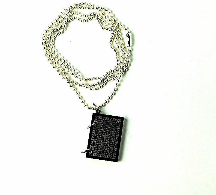 "QP23 Dalimara Magnetic Pendant Gothic Cross with Nano Card & 23"" Black Chain"
