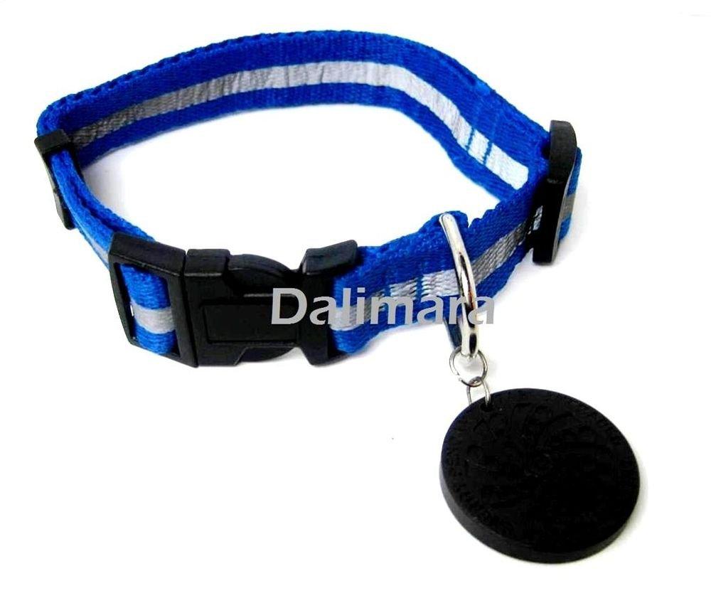Dalimara Large Reflective Pet Collar & Nano Q Pendant - Blue