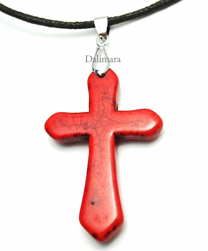 Quantum Cross Pendant Turquoise Apple Red with Far Infrared