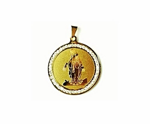 QR3 Blessed Virgin Mary Energy Pendant Surrounded with Cz Crystals