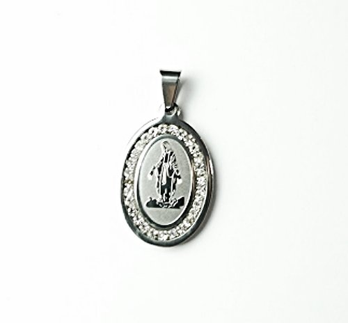 QR5 Blessed Virgin Mary Oval Energy Pendant with Cz Crystals