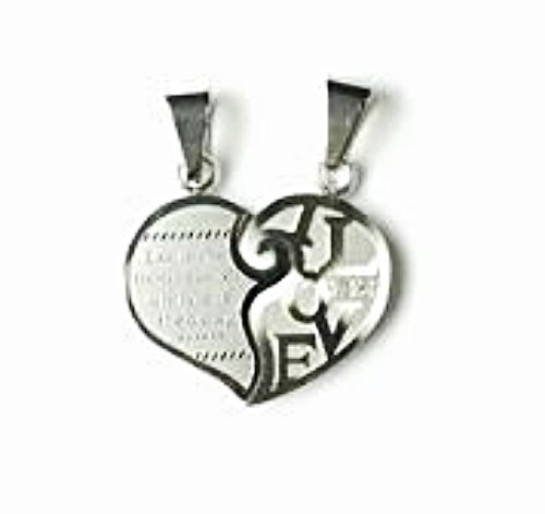 QL2 Couple's Pendant Love Inside Heart with 2 Cz Crystals