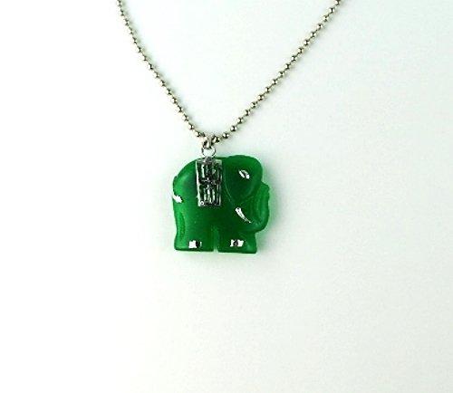 QP47 Good Luck Elephant Green Jade Quantum Pendant