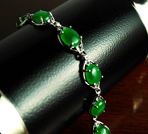 QB58 Oval Med Goodluck Strength Green Jade Quantum Bracelet