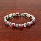 QB60 Stone of Love & Romance Rose Jade Quantum Bracelet w/ Crystal Leaves
