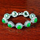 QB63 Goodluck and Strength Green Jade Quantum Bracelet w/ Crystals