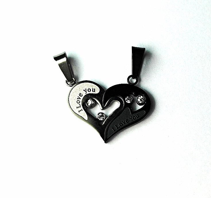 QL5 Couple's Pendant I LOVE YOU Heart Energy Necklaces with Crystals