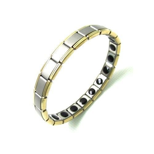 QB2 Quantum Bracelet Titanium with Powerful Germanium Chips 2-Tone Gold/Silver
