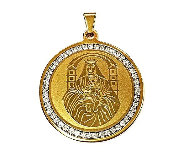 QR12 Blessed Virgin Mary Holding Jesus Energy Pendant with Crystals