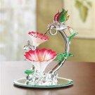 Spun Glass Hummingbird with Flowers
