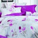 4-pc Rose Floral Colored Cotton Duvet Cover Bedding Set