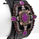 Antique Silver Tone / Purple Rhinestone / Black Leather / Lead Compliant
