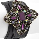 Antique Gold Tone / Purple Rhinestone / Black Leather / Lead Compliant