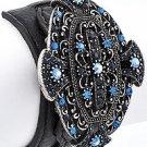 Burnished Silver Tone / Blue Rhinestones / Black Leather / Lead Compliant / Buckle