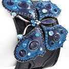 Burnished Silver Tone / Blue Epoxy / Black Leather / Lead Compliant / Buckle / Butterfly
