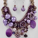 Two Tone / Purple Synth Pearls / Purple Glass Crystals Lead&nickel Compliant / Necklace & Fish Hook
