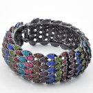 Hematite Tone / Multi Color Rhinestone / Lead&nickel Compliant / Fold-over Bracelet
