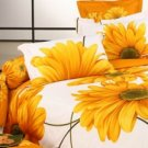4-pc White And Yellow Cotton Duvet Cover Bedding Set