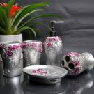 Delicate Silver Rose Resin Environment Friendly Bathroom Sets